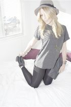 black sam edelman boots - gray Forever 21 t-shirt - gray h&m via thrift town hat