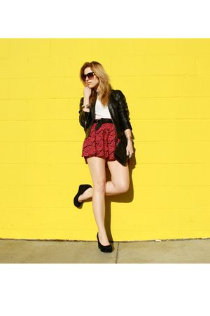 black Silence & Noise jacket - white BDG t-shirt - pink Forever 21 skirt - black
