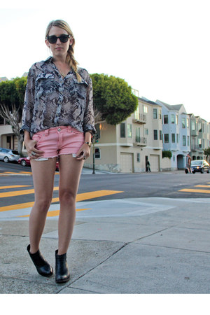 bubble gum Forever 21 shorts - Jeffrey Campbell boots