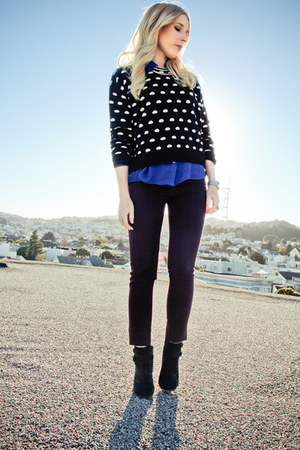 Forever 21 sweater - Lucky Brand boots - dl1961 pants - Forever 21 blouse