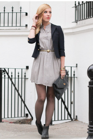 charcoal gray Dahlia dress - black Jeffrey Campbell boots - navy vintage blazer