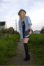 Blue-thrift-shirt-black-h-m-dress-black-dolce-vita-shoes-black-purse-bla