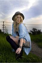 blue thrift shirt - black H&M dress - black Dolce Vita shoes - black purse - bla