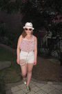 Pink-zara-shirt-white-american-apparel-shorts-gold-spring-shoes-white-zell