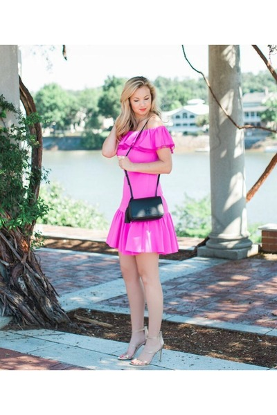 85ae922a829a8 hot pink pink dress Rebecca Taylor dress - tory burch bag