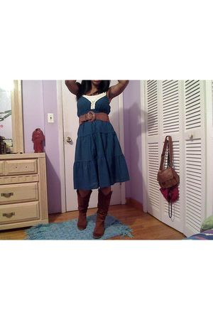 blue Aeropostale dress - brown delias boots - brown rainbow belt - white rainbow