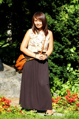 black Bik Bok skirt - camel shoes - brown H&M bag - brown GINA TRICOT belt