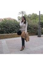 camel Zara coat - cream Sfera sweater - black Stradivarius bag