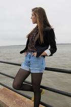 Gap shoes - H&M blazer - Forever 21 tights - altered Vintage Ralph Lauren shorts