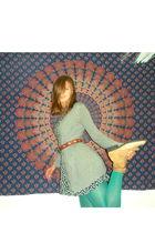 blue Anthropologie stockings - gray Target cardigan - black