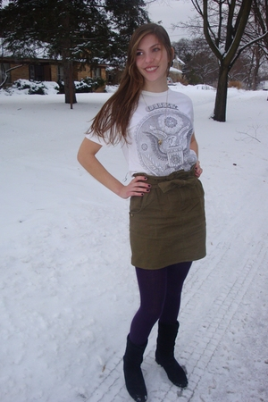 white obey shirt - green Lark and Wolff by Steven Alan skirt - purple tights - b