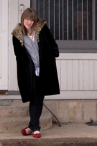 vintage coat - H&M cardigan - Forever 21 t-shirt - JCP jeans - Clarks shoes