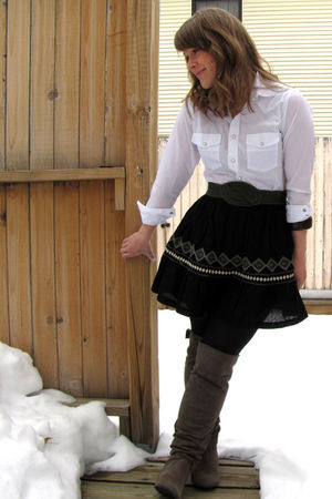 thrifted shirt - Charlotte Russe skirt - Target boots - thrifted belt