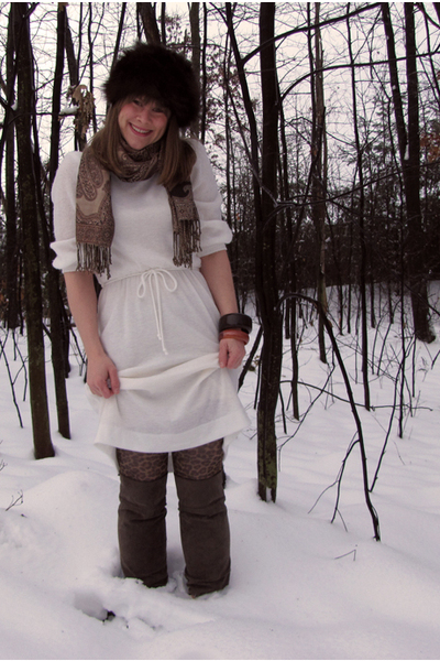 brown vintage accessories - white vintage dress - beige Target boots - scarf acc