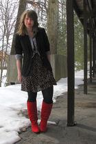 3c550e78993a JCP blazer - fred flare dress - payless boots - bitten shirt