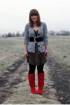 red payless boots - black fred flare dress - silver Bon Ton sweater - black NY&C