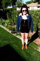black vintage shirt - bronze Steve Madden boots - blue Urban Outfitters jacket