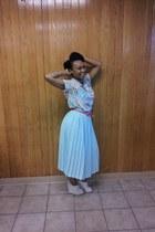 aquamarine skirt - aquamarine shirt - beige peep toe wedges wedges