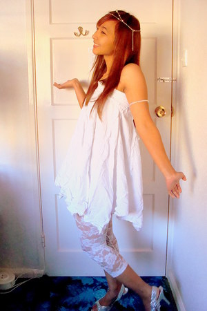 white mkone skirt - white H&M leggings - white Primark bracelet - off white next