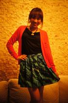 blue skirt Express skirt - black top H&M top