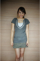 heather gray top American Eagle top - silver tank Express top