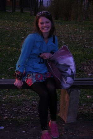 turquoise blue H&M jacket - hot pink Clarks shoes - hot pink new look dress