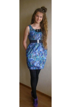 blue textile River Island dress - black tights - amethyst leather Topshop heels