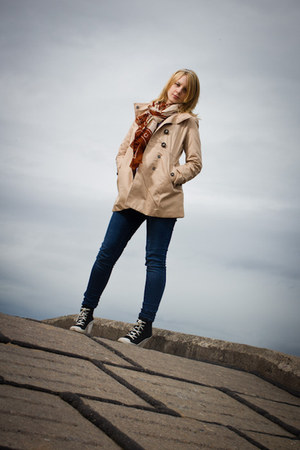 tan H&M coat - navy Primark jeans - sky blue H&M shirt - tawny Miss Selfridge sc