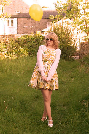 light yellow Primark dress - nude Primark tights - lime green Primark sunglasses
