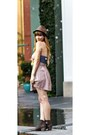 Light-pink-monteau-dress-dark-brown-booties-rocket-dog-boots