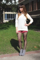 ivory chunky knit H&M sweater - heather gray suede booties Michael Kors boots