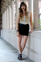 black faux leather Forever 21 skirt - ivory studded ecote top