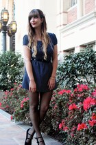 black bow belt Forever 21 belt - navy polka dot dress Mimi Chica dress