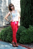 red BDG pants - ivory lace Kimchi Blue top - peep toe wedge Steve Madden wedges