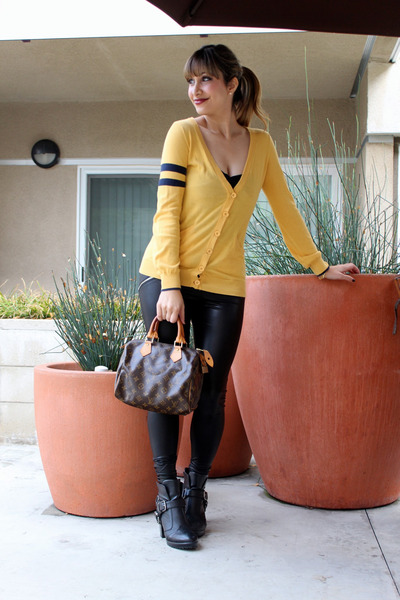 gold Lux sweater - black booties Dolcetta by Dolce Vita boots
