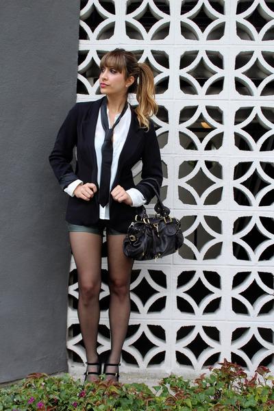 black skinny Topshop tie - black black blazer Silence  Noise blazer