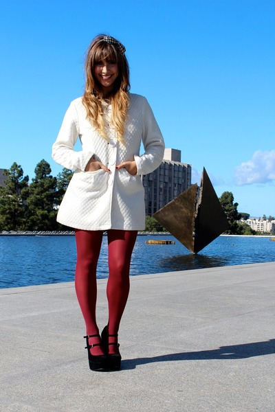 white quilted sugarfly coat - maroon Nordstrom tights