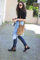 Zara top - balenciaga boots - vintage shirt - ray-ban sunglasses