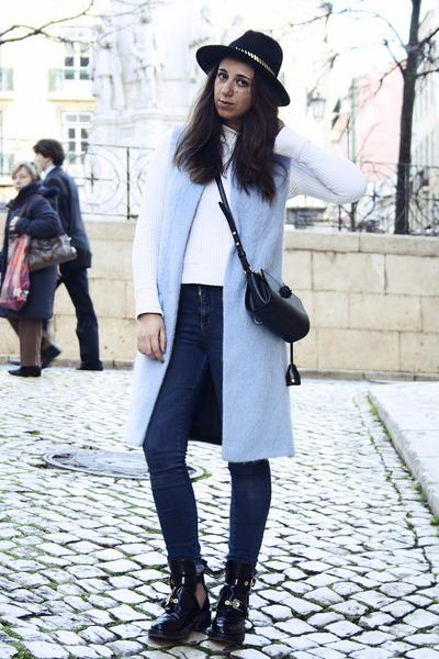 black asos hat - balenciaga boots - Alexander Wang bag - Zara vest