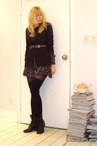 Plush stockings - Earnest Sewn dress - Steve Madden boots - Audrey blazer