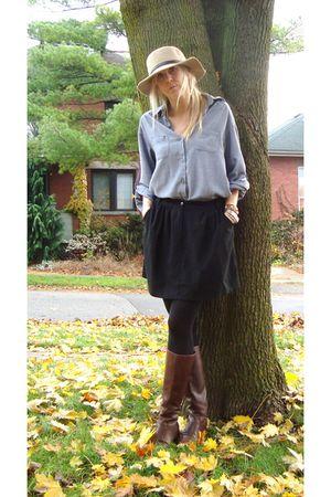 brown boots - black sessun skirt - blue blouse - beige hat
