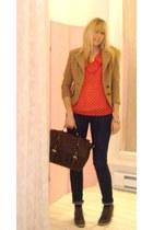 navy skinny jeans jeans - camel jules power blazer - dark brown satchel cest moi