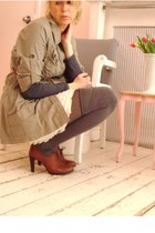 beige skirt - beige murmur jacket - gray Club Monaco tights - Nine West shoes -