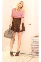 red jules power blouse - green FCUK skirt - gray Nine West shoes - gray purse -