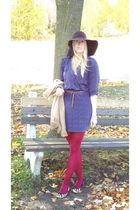 brown Nine West shoes - blue sessun dress - red HUE stockings - brown hat - beig