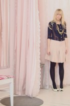 blue Charlotte Tarantola cardigan - pink Club Monaco skirt - beige shoes