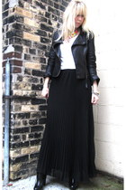black sheer pleated bardot skirt - black Kelsi Dagger boots - black jacket