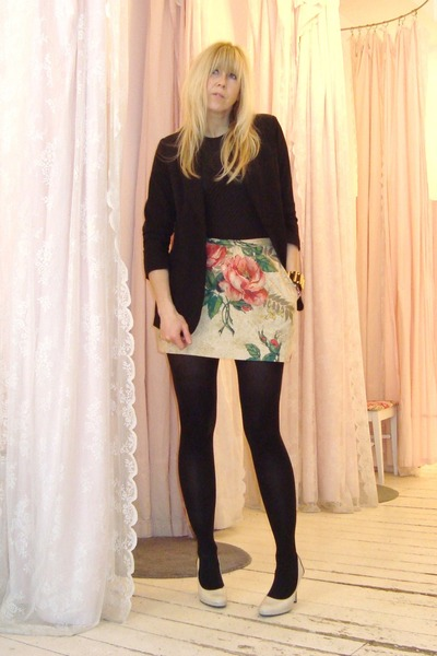 black Audrey blazer - off white platform Nine West heels - eggshell jules power