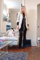 black Matiko boots - beige sweater - black Piko dress - black HUE stockings - wh