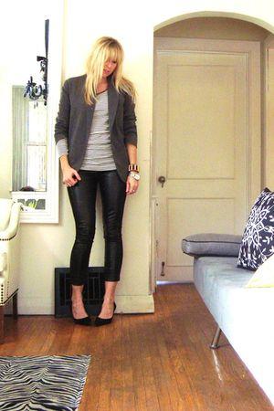 black pants - black Nine West shoes - white SUIT top - gray blazer